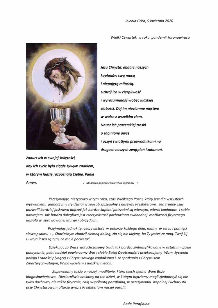 Życzenia dla naszych Kapłanów ! - 09.04.2020